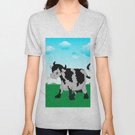 Cow on a meadow Unisex V-Neck