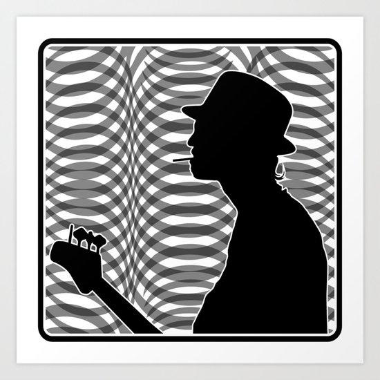 Bass Guitar Player Silhouette B/W Art Print