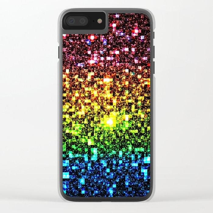 Geometric Galaxy Stars : Rainbow Clear iPhone Case