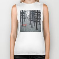 grey Biker Tanks featuring The Fox and the Forest by Nic Squirrell