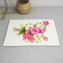 Pink Floral Love, Buttercups, garden flowers, floral artwork Rug