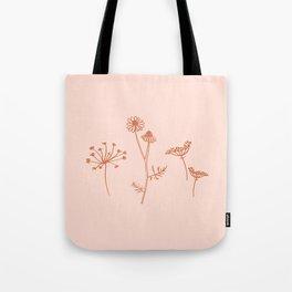 Wildflower Line Art Tote Bag