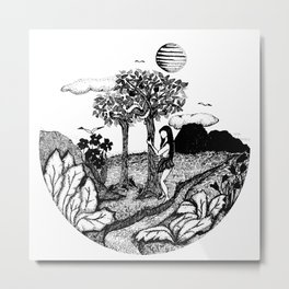The Garden - Ink Drawing Metal Print