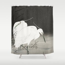 Egrets in the lake - Japanese vintage woodblock print Shower Curtain