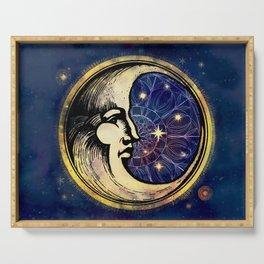 Celestial Antique Man In The Moon Watercolor Batik Serving Tray
