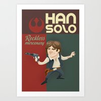 han solo Art Prints featuring Han Solo by Alex Santaló
