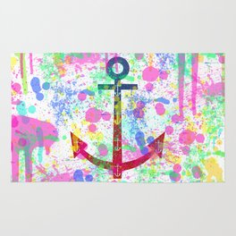Modern abstract colorful watercolor nautical anchor splatters Rug