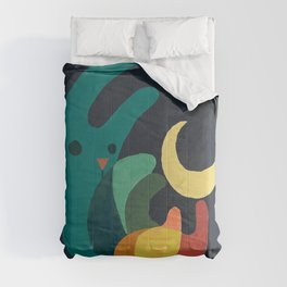 Rabbit and crescent moon Comforters