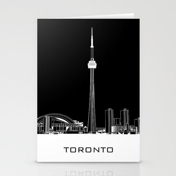 Toronto Skyline - White ground / Black Background Stationery Cards