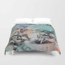 Only plateaus offer a place to rest. Duvet Cover