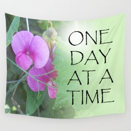 One Day at a Time Sweet Peas Wall Tapestry
