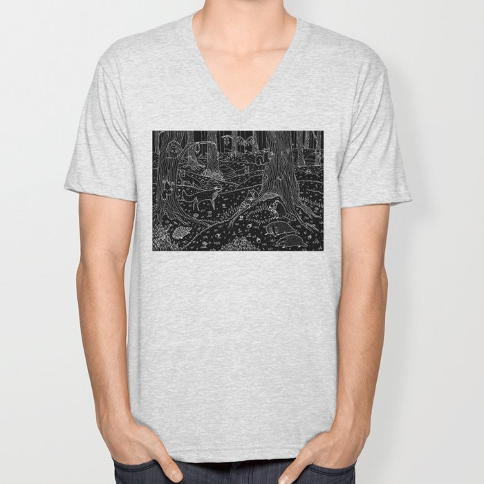 Nocturnal Animals of the Forest Unisex V-Neck