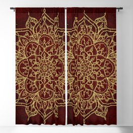 Deep Red & Gold Mandala Blackout Curtain