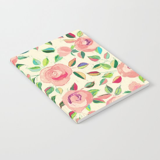 Pastel Roses in Blush Pink and Cream  Notebook