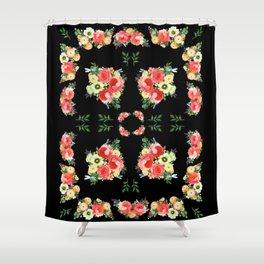 Tiny Blütenschön Black Shower Curtain