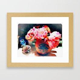English Tea and Peonies Framed Art Print