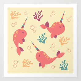 To the Window to the Narwhal - Coral & Cream Art Print