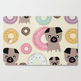 Pug and donuts beige Cutting Board