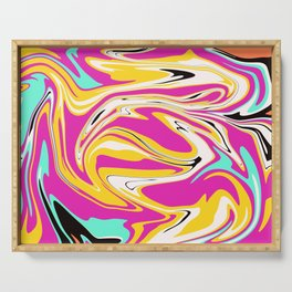 Abstract psychedelic marble Serving Tray