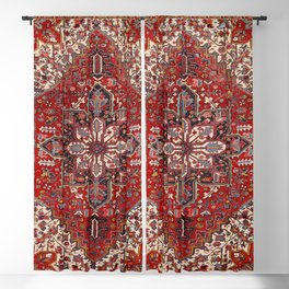 Persia Heriz 19th Century Authentic Colorful Blue Red Cream Vintage Patterns Blackout Curtain