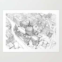 Aerial Drawing of St.Paul's Cathedral, London Art Print