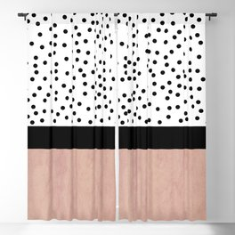 Pink marble and dots Blackout Curtain
