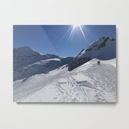 Up here, with sun and snow Metal Print