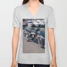 Classic Two Stroke Motorcycle Unisex V-Neck