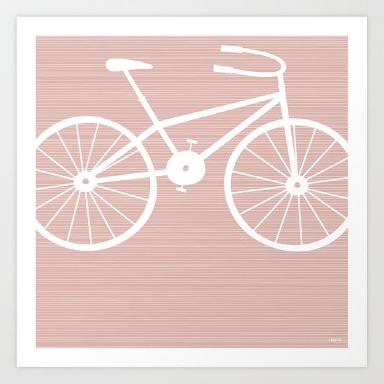 Pink Bike by Friztin Art Print
