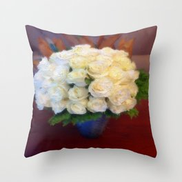 White roses in a blue vase  Throw Pillow