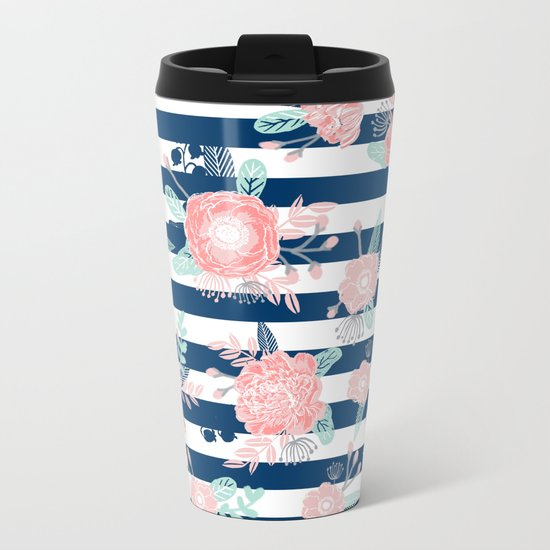Florals bouquet navy stripe modern classic pattern print nautical preppy chic kids children college  Metal Travel Mug