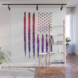 Red & blue gradient USA flag Wall Mural