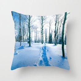 Snowshoeing Adventure Throw Pillow
