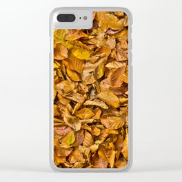Dark yellow autumn leaves Clear iPhone Case