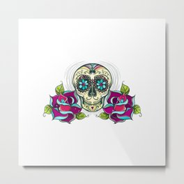 Vector Sugar Skull With Roses Colorful Unicolour Metal Print