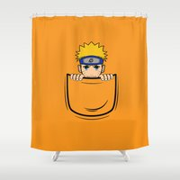 naruto Shower Curtains featuring Naruto pocket by Buby87