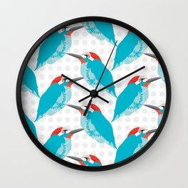 Kingfishers and Polka Dots Wall Clock