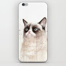 Grumpy Watercolor Cat II iPhone & iPod Skin