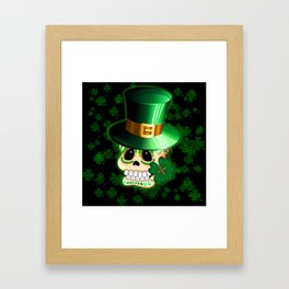 St Patrick Skull Cartoon  Framed Art Print