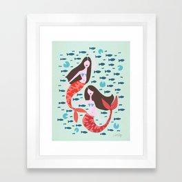 Koi Mermaids on Mint Framed Art Print