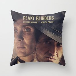 Peaky Blinders poster, Cillian Murphy is Thomas Shelby, Adrien Brody is Luca Changretta Throw Pillow