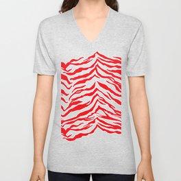 Tiger Print - Red and Pink Unisex V-Neck