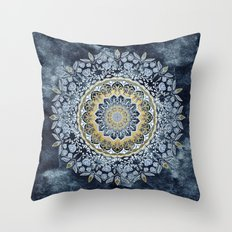 Blue Floral Mandala Throw Pillow