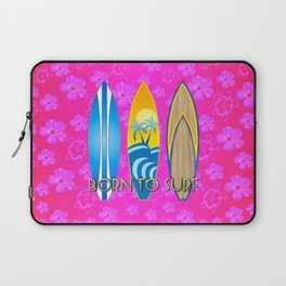 Born To Surf Pink Tropical Flowers Laptop Sleeve