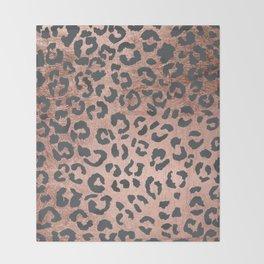 Modern charcoal grey rose gold leopard pattern Throw Blanket