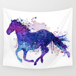 Running Horse Watercolor Silhouette Wall Tapestry