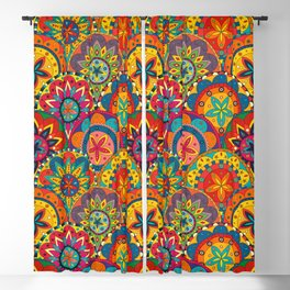 Funky Retro Pattern Mandalas Blackout Curtain