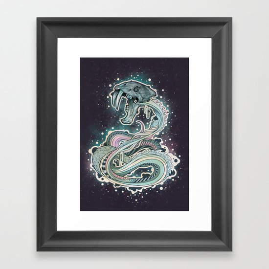 Saber-toothed Serpent in Space. Framed Art Print