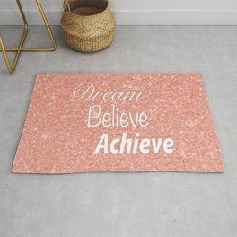 Dream Believe Achieve Rose Gold Rug
