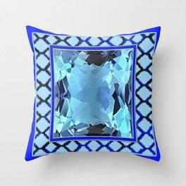 AQUAMARINE MARCH GEM BIRTHSTONE MODERN ART Throw Pillow